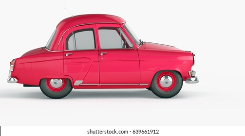 Vintage red car in 70s style isolated on a white background. Side view. 3d rendering