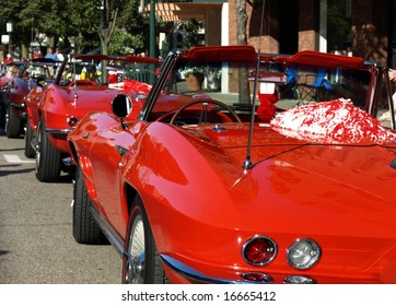 Vintage red convertibles