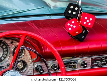 Vintage red dash and fuzzy dice