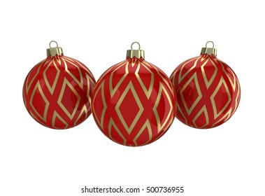 Vintage red decorative Christmas balls with gold reflect ornament. Isolated New Year image. 3D illustration.