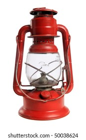 Vintage red lantern isolated over white background