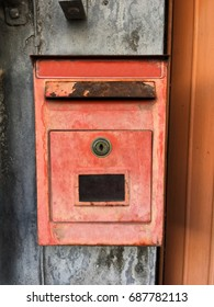 vintage red mailbox isolate