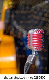 vintage red microphone