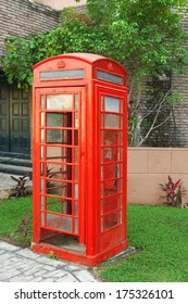 vintage red phone booth