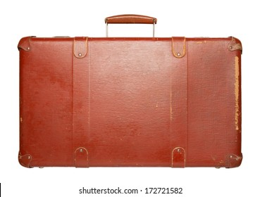 Vintage red suitcase isolated on white background