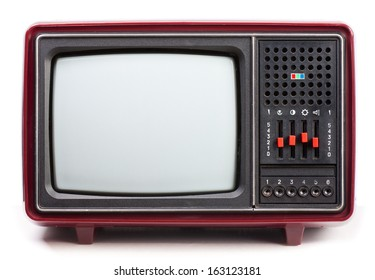 Vintage red Television set on white background