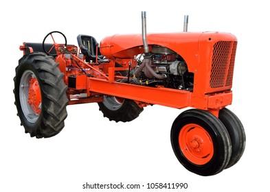 Vintage red tractor restored background