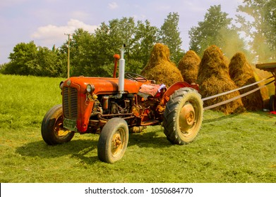 Vintage red tractor in Serbian village. Field with hay.