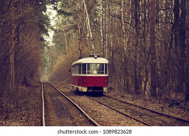 Vintage red tram running through the forest part of the city. Autumn background in the park in Kiev, Ukraine.