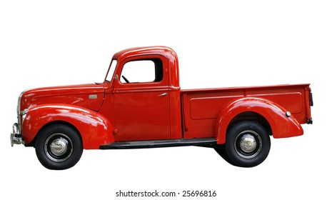 vintage red truck with clipping path