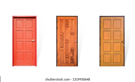 Vintage red and wooden door isolated on white background. This has clipping path.