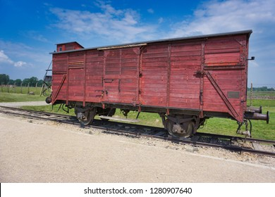 vintage red wooden train carriage from world war 2