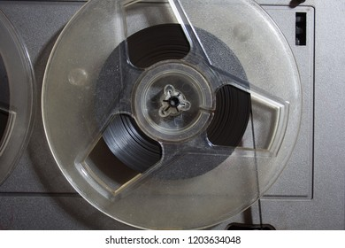 vintage reel on retro hi-fi reel-to-reel player