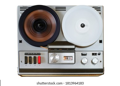 vintage reel to reel tape recorder, open reel audio recorder. Isolated on white, nostalgic audio gear