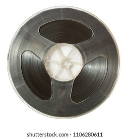vintage reel-to-reel tape on a white background