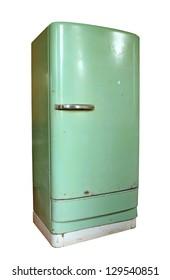 Vintage refrigerator isolated on white background
