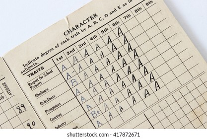 Vintage report card over head view of old fashioned values