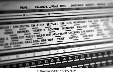 Vintage retro analog radio display with FM and AM band, European cities.