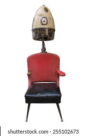 Vintage Retro Barber's Hair Dryer And Chair