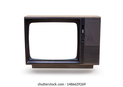 Vintage, retro black old  television isolated on white background with clipping path.