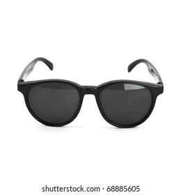vintage retro black sunglasses isolated on white