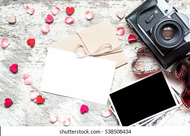 Blank white greeting greeting card blank stock photo royalty free vintage retro camera with mock up greeting card and blank photo frame with wooden hearts and m4hsunfo Images