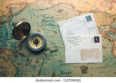 vintage retro compass on a map discover travel concept