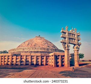 Vintage retro effect filtered hipster style image of Great Stupa - ancient Buddhist monument. Sanchi, Madhya Pradesh, India