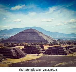 Vintage retro effect filtered hipster style image of Mexico travel background - Ancient Pyramid of the Sun. Teotihuacan. Mexico