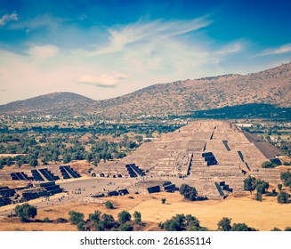 Vintage retro effect filtered hipster style image of famous Mexico landmark tourist attraction - Pyramid of the Moon, view from the Pyramid of the Sun. Teotihuacan, Mexico