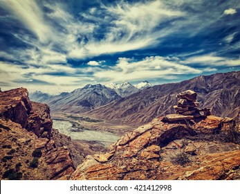 Vintage retro effect filtered hipster style image of Spiti valley in Himalayas. Spiti valley, Himachal Pradesh, India
