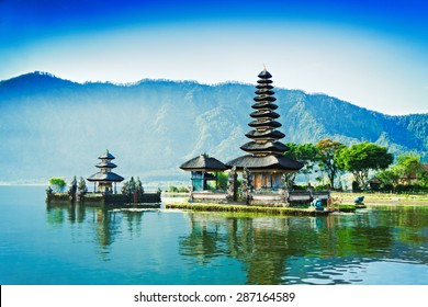 Vintage retro effect like filtered hipster photo of Ulun Danu temple, Beratan Lake in Bali, Indonesia