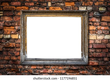 Vintage Retro Gold Ornate Art Frame On A Rstic Red Brick Wall Background With Isolated Blank Center