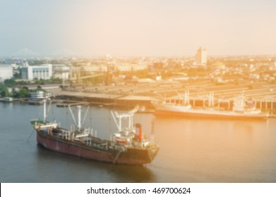 Vintage retro hipster style. Cargo ship in the river. Thailand