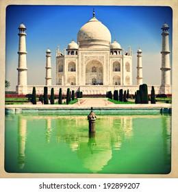 Vintage retro hipster style image of Taj Mahal