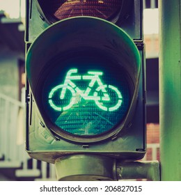 Vintage retro looking Green light for bycicle lane on a traffic light