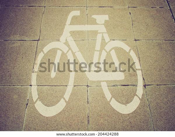 Vintage retro looking Sign of a bike or bicycle lane