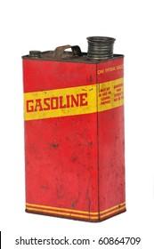 Vintage retro metallic fuel container isolated on white
