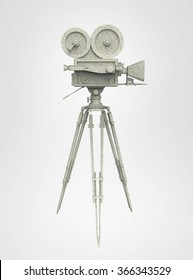 vintage retro movie camera on tripod mount isolated on white high quality 3d rendering