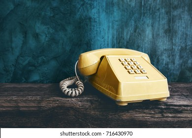 Vintage Retro Office Telephone with Push Button style, Old item from 1980-1990, Technology Communication for Business in the Past concept