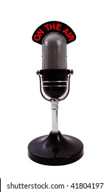 Vintage retro 'On the Air' Microphone isolated over white background.
