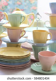 vintage retro pastel tea cups and plates