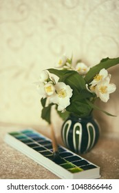 Vintage retro photo of jasmine flowers in little vase with a watercolor box and a brush
