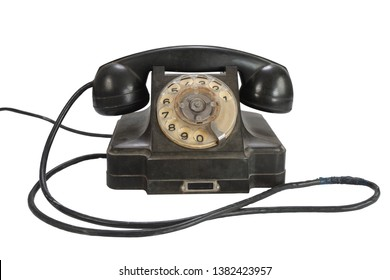 Vintage retro rotary dial telephone isolated on white background