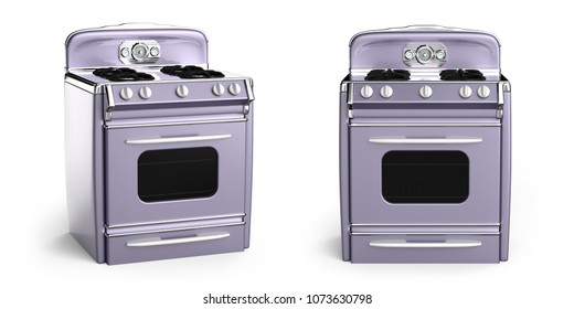 Vintage retro stove in front view isolated on white. 3d illustration