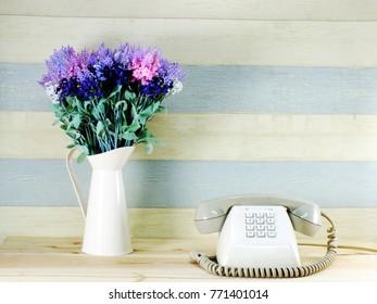vintage retro telaphone and flower bouquet interior decoration
