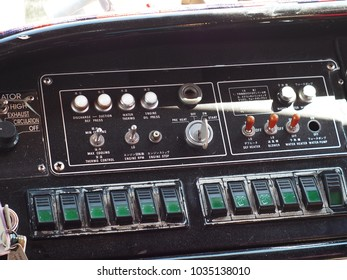 vintage retro THAILAND country style bus driver controller console selective focus blur background focus on complex many knobs and display design