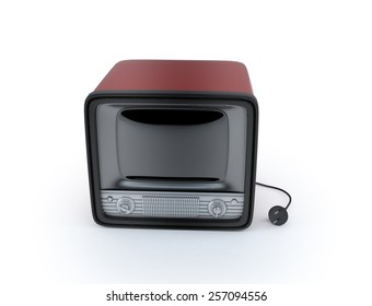 vintage retro tv  3d render isolate on white background.
