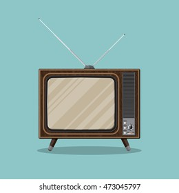 Vintage retro TV with antenna and empty screen in wooden case. illustration in flat style isolated on green background