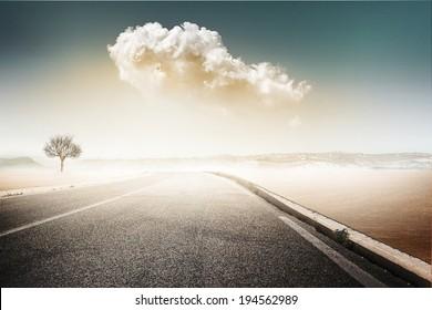vintage road landscape